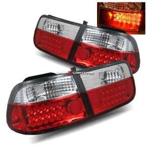 96 00 Honda Civic 2Dr LED Tail Lights   Red Clear