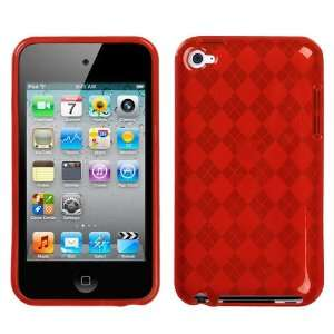 T Red Argyle Candy Skin Cover for Apple iPod touch (4th