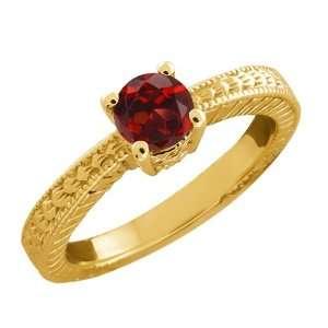0.60 Ct Round Red Garnet 14k Yellow Gold Ring Jewelry