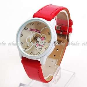 Hello Kitty Large Face Wristwatch Wrist Watch Red Toys & Games