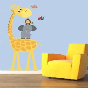 Childrens Removable Vinyl Wall Decal Elephant Giraffe Monkey Birds