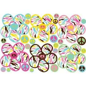 Multicolored Peace Daisy Removable Wall Stickers
