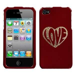 Red and White Crystal Rhinestone Bling Bling Love Inside Heart for At