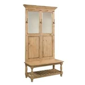 Homecoming Pine Hall Tree with Bench & Shoe Storage, Hooks & Mirrors