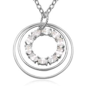 Sterling Silver Cubic Zirconia Triple Circle Pendant, 18 Jewelry