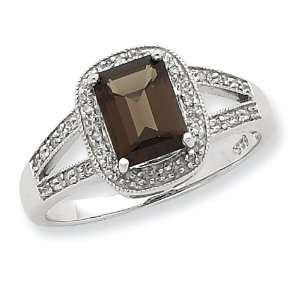 Rhodium Emerald Cut Smokey Quartz & Diamond Ring, Size 8 Jewelry