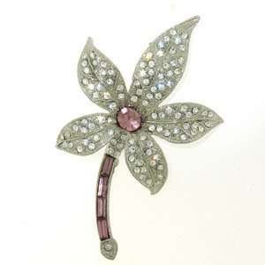 Platinum Plated Swarovski Crystal Flower Brooch / Pin Jewelry