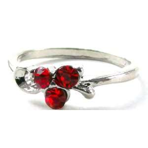 Red Swarovski Crystal Rhinestone Ring, Size 6 LLC Price