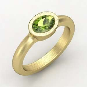 Byzantium Ring, Oval Green Tourmaline 14K Yellow Gold Ring Jewelry