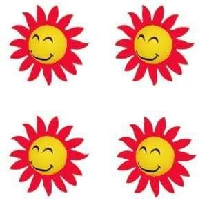 Face Sun w/ Orange Sunray Tips Car Truck SUV Antenna Topper   4PK