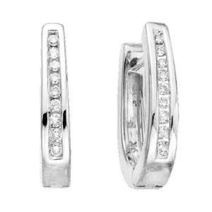 14K White Gold Diamond Hoop Earrings (1/4 ctw