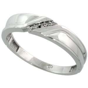 10k White Gold Mens Diamond Wedding Band Ring 0.04 cttw Brilliant Cut