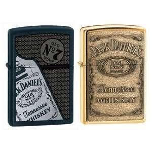 Zippo Lighter Set   Jack Daniels Black Bottle and Brass Emblem Label