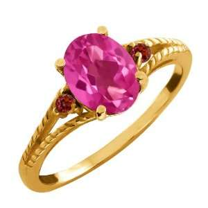 2.37 Ct Oval Pink Mystic Topaz and Rhodolite Garnet 14k