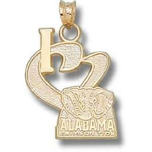 Alabama Crimson Tide 10K Gold I Heart Elephant 3/4