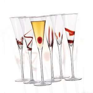 Chateau Orleans Champagne Flute Glasses in Matching Red Designs, Set
