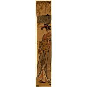 1782 Japanese Print full length portrait of a woman holding a parasol