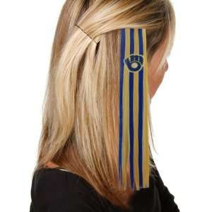Milwaukee Brewers Ladies Navy Blue Gold Sports Extension Hair Clips