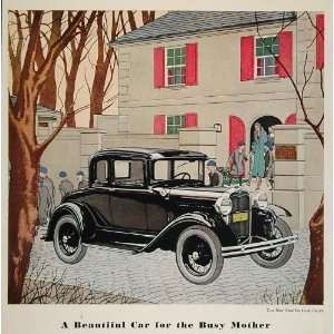 1931 Ad Ford Model A Deluxe Coupe Boys School Mother   Original Print