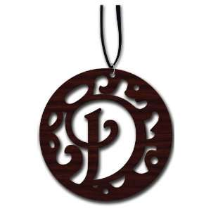 Laser Cut Wood Monogram Necklace D Home & Kitchen