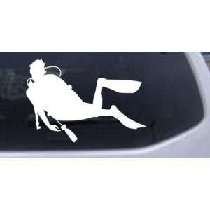 Diver Sports Car Window Wall Laptop Decal Sticker    White