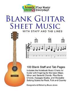 AMTV Guitar Blank Sheet Music with Staff and TAB Lines by bruce jones