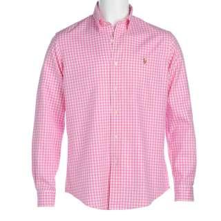 Lauren Pink Shirt, Pink And White Check Gingham Button Cuff Shirt
