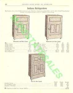1911 Antique Indiana Wood Ice Box Refrigerator AD