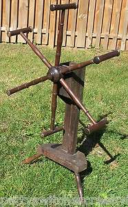 Antique 6 Spoke Yarn Winder Floor Model Tri Legged