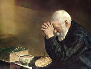 OLD MAN Praying *CANVAS* Christian Art GRACE ~ LARGE