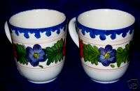 222 Fifth *TWO* Portuguese Flower Ceramic Coffee Mugs