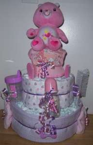 One of a Kind Unique Baby Shower Care Bear Diaper Cake, Tenderheart