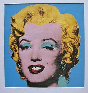 ANDY WARHOL MARILYN MONROE Matted Art Lithograph with Blue Background