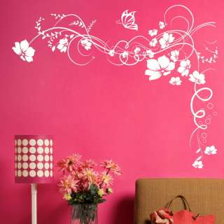 stickers, vine flower butterfly wall art stickers kitchen bathroom n21
