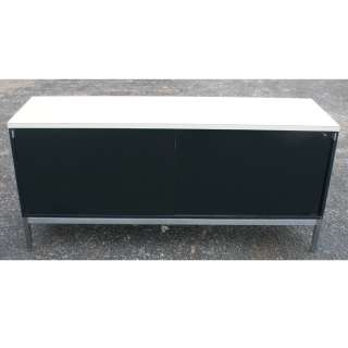 credenza cabinet white laminate top 2 sliding doors chrome base and