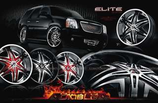 28 DIABLO TRUCK WHEELS & RIMS ESCALADE YUKON TAHOE GMC WHEELS