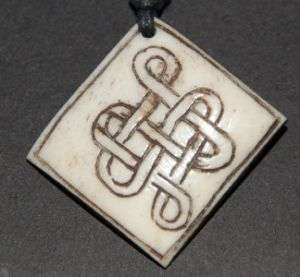TIBETAN CARVED YAK BONE ETERNAL KNOT PENDANT