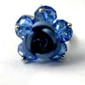 d8144 Cluster Wedding Flower Blue Crystal Beads Adjustable Ring