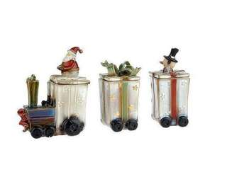 Ceramic Christmas Santa Train w/3 Candles 3.5 oz Valerie Parr Hill