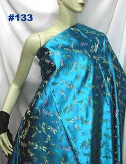 Bright T.Blue Dragonfly CHINESE BROCADE FABRIC by YARD
