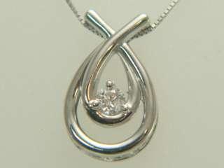 10K White Gold Solitaire Diamond Pendant Necklace