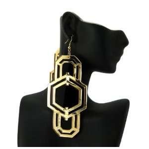 Nicki Minaj Acrylic Digit Earring Black Gold HE1191BKGD