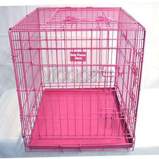 42 3 Door Pink Folding Dog Crate Cage Kennel Three 2