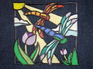 Stained Glass Dragonflies Embroidered Navy Blue Tote Bag