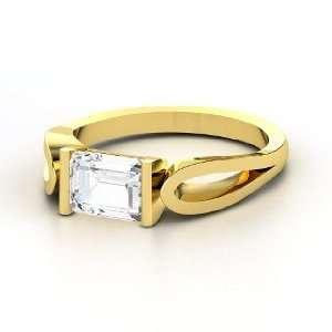 de Loop Ring, Emerald Cut White Sapphire 14K Yellow Gold Ring Jewelry