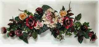 BURGUNDY PLUM CREAM Hydrangea ROSES Silk Flowers SWAG