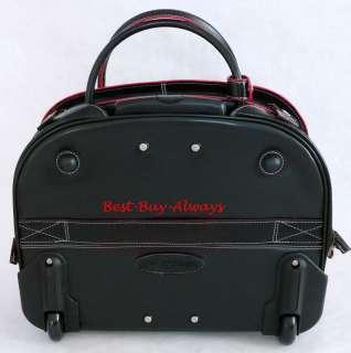 McKlein Italian Leather Wheeled Rolling Laptop Case/Bag BLACK