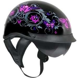 Outlaw T 72 Dual Visor Half Helmet   Flowers and Pink