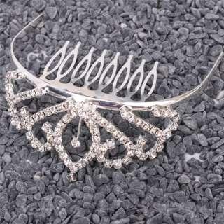 Leaf Rhinestone Crown Comb Hair Clip Tiara Medium size