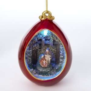 LED Lighted Color Changing Holy Family Nativity Scene Christmas Ball